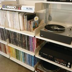 Record storage and spines grouped by color Cd Storage, Vinyl Record Storage, Record Shelf, Storage Ideas, Gothic Furniture, Cool Furniture, Recording Studio Design, Home Studio Music, Office Workspace