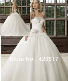 2014 In stock  Sweetheart  Ball Gown  Long  Train  Bridal  Gown Tulle  Beaded  Flower Sexy  Wedding  Dress $99.00