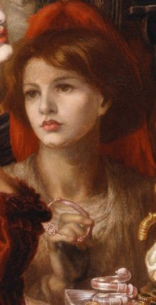 """Dante Gabriel Rossetti, """"La Bella Mano"""", detail. I don't get Rossetti. He has a great knack for painting a man, adding breasts, and calling it a woman. Did he have no idea what women are like, or did the women around him look like that? They also have such prominent chins. Again, did his models all have them, or did he end up adding that feature every time? I think this girl, the sister of one of his muses and not the focus of the piece, is genuinely pretty. Guess we just have different…"""
