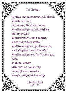 This Marriage - Rumi tags love poem a ceremony pictures Rumi Love Quotes, Love Poems, Wedding Poems, Wedding Blog, Wedding Blessing, Gift Wedding, Marriage Verses, Rumi Poem, Wedding Ceremony Readings