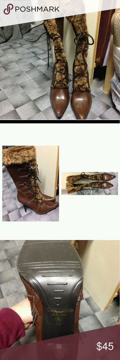 🛍CYBER WEEK SALE🛍 Delicious fashion boots REDUCED $40 FOR CYBER WEEK SALE😲😲 N.W.O.T These beautiful fashion boots with faux fur down the front with FANCEY hardware and sting down the front , diffently stunning 3 inch heals.... BUNDLE 3 OR MORE FOR BIGGER DISCOUNT Delicious Shoes Heeled Boots