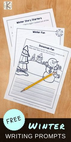 FREE Winter Writing Prompts - kids will have fun practicing writing with these creative writing prompts perfect for prek, kindergarten, and first grade kids Writing Games For Kids, Writing Prompts For Kids, Picture Writing Prompts, Writing Practice, Writing Activities, Winter Activities, Writing Lists, Writing Topics, Therapy Activities