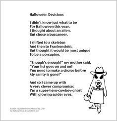 funny poem about a childs halloween costume great for school and classroom activities common - Good Halloween Poems