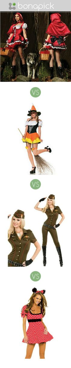 Halloween women's sexy and funny, fancy  costumes, witch vs Minnie mouse against Little red riding hood versus military air force dress Bonapick.com