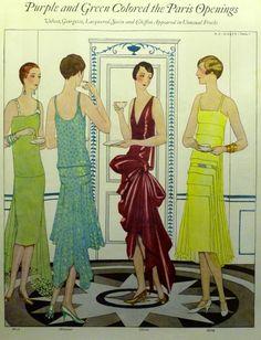 Gods and foolish grandeur art deco roaring fashion in 20 Roaring 20s Fashion, 1930s Fashion, Roaring Twenties, Art Deco Fashion, Vintage Fashion, Moda Retro, Moda Vintage, Vintage Dresses, Vintage Outfits