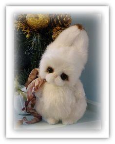 Snow White Fur Artist Teddy Bunny. Teddy Bear by FeltSilkArtGift