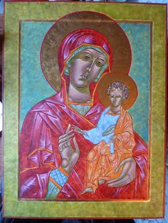 """+JMJ+ Dear fellow artists and friends, I recently finished an icon of the Theotokos, an icon which is called """"Hodigitria"""" or """"Our Lady of th..."""