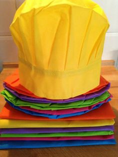 Kids Cooking Party Pack- 6 x kids aprons & 6 x chef hats-Multi-Coloured-Rainbow