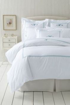 Tailored Hotel Sateen Embroidered Dot Duvet Cover or Sham from Lands' End