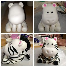 Fondant Zebra can be done in polymer clay Fondant Figures, Fondant Cake Toppers, Cupcake Cakes, Decors Pate A Sucre, Biscuit, Safari Cakes, Jungle Cake, Fondant Animals, Animal Cakes