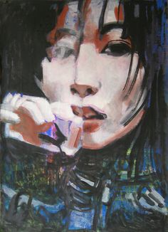 "Saatchi Online Artist: Emil Valev; Oil, 2012, Painting ""Japan girl smoking a sigarette"""