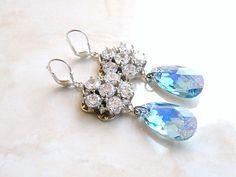 Wedding Jewelry Bridal Earrings Swarovski Aqua Blue by SomsStudio, $37.00