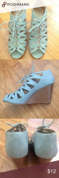 Lace-up light blue wedges Adorable powder blue wedges with laces, worn maybe two times. Francesca's Collections Shoes Wedges