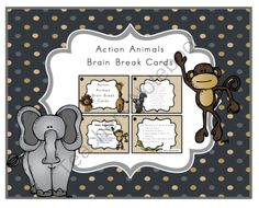 Action Animals Brain Break Cards from Preschool Printables on TeachersNotebook.com -  (6 pages)  - The benefits of brain breaks� 1.	Improve focus 2.	Motivate students 3.	Re-energize students for learning 4.	Indoor activities (Rainy Day) 5.	Just plain fun!