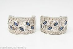 18K White Gold Huggie Diamond and Sapphire Accented Earrings