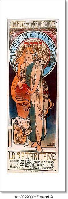 Reproduction Haut de Gamme Nouveau Poster Times of The Day Series de Alfons Mucha Poster 20 x 60 cm: Evening Contemplation