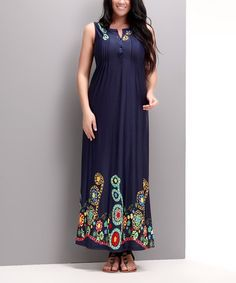 Another great find on #zulily! Navy Garden Button-Front Maxi Dress - Plus by Reborn Collection #zulilyfinds