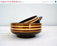 Spring SALE 70s brown Candy Bowls Hand Decorated by MeshuMaSH