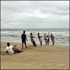 Men pull in the morning's catch in Banjul, Gambia. Photo by Jane Hahn  #banjul #gambia #beach #fishing #teamwork