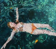 "@samantha_french's incredible aquatic paintings -- ""Lagoon Verde"""