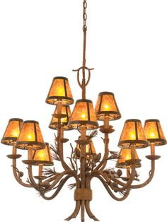 "Kalco Ponderosa 5032 12-Light 2-Tier Chandelier  5032 List Price from: $1,438.00  Dimensions: 32"" Width x 34"" H Lamping: (12) 60-watt candelabra base. Mica S205 shades take a maximum 40-watt candelabra base bulb. Kalco Ponderosa 5032PD/S205 12-Light Chandelier in Ponderosa finish with Mica shades Finish: Sycamore or Ponderosa Shades: Shade options available >  Nature comes to light with this rustic Collection, featuring pinecones, pine needles and branches of simulated bark."