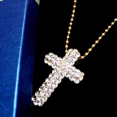EleganceWonderful الصليب طلاء الذهب المصقول كريستال قلادة + هدايا صندوق N493B
