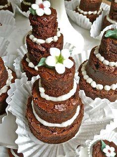 Mini three-tiered brownie cakes - I like the mini tiers of brownies