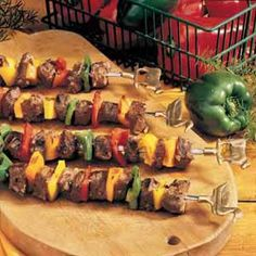 Need grilled kabob recipes? Get grilled kabob recipes for your outdoor cookout or party. Taste of Home has great recipes for grilled kabobs including grilled chicken kabobs, grilled shish kabobs, and grilled beef kabobs. Kabob Recipes, Top Recipes, Fruit Recipes, Grilling Recipes, Summer Recipes, Beef Recipes, Dinner Recipes, Cooking Recipes, Healthy Recipes
