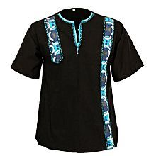 Tradi Shirts - Modern Embroidered In The Col Detail Pagne - Black / Blue Baby African Clothes, African Dresses For Kids, African Dresses For Women, African Print Dresses, African Attire, African Wear Styles For Men, African Shirts For Men, African Clothing For Men, Nigerian Men Fashion