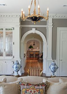 Brent Hull home, Fort Worth...love the wall color, the crown molding, and that  throw pillow.