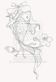 koi drawing, fantastic lines on tail