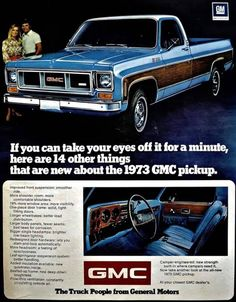 Items similar to 1973 GMC Pickup Truck Photo Ad Blue Truck with Wood Panel Print Vintage Advertising Man Cave Wall Art on Etsy Chevy Pickup Trucks, Classic Chevy Trucks, Gm Trucks, Chevy Pickups, Chevrolet Trucks, Cool Trucks, Chevy 4x4, Gmc Suv, Lifted Chevy