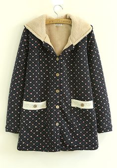 ++ navy blue floral print thick coton padded coat