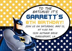 Batman birthday party invitation by inkypinkypaperie on Etsy, $15.00