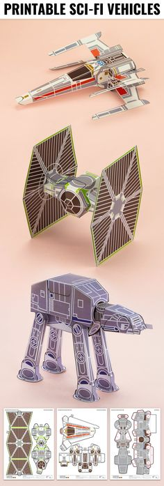 Printable Space Ship Sci-Fi Paper Toy Craft - Fold Up Toys, Star Wars, X-Wing, Tie-Fighter, At-at