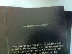 Thesis for Stellenbosch University, in black.