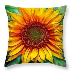 Custom made decorative throw pillow. Full bloom bright and colorful Sun Flower design print