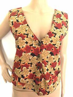 Cityscape Multicolored Cotton Blend Button Down Vest - Size M - EUC #Cityscape #Vest