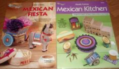 Unused 2 MEXICAN Plastic Canvas Leaflets FIESTA & KITCHEN Southwest Designs