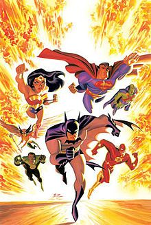 Justice League (TV series) - 2001 to 2004 - followed the adventures of the newly formed Justice League, which included Superman, Batman, Wonder Woman, Green Lantern, The Flash, J'onn J'onzz, and Hawkgirl.