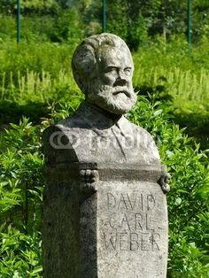 Büste von Carl David Weber im Weberpark in Oerlinghausen im Teutoburger Wald im Liberalen bei Detmold