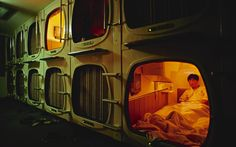 THE JAPANESE CAPSULE HOTELS ARE DESIGNED FOR BUSINESSMEN ON THE MOVE AND OFFER AN EXPERIENCE YOU'LL FIND NOWHERE ELSE. SCRUB UP IN THE COMMUNAL BATHHOUSE, GET ACCUSTOMED TO YOUR CONTROL PANEL, TRY TO MAKE SENSE OF JAPANESE TELEVISION AND SETTLE DOWN TO THE MOST EFFICIENT 40 WINKS YOU'LL EVER CATCH.