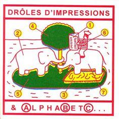 Paul Cox: Drôles d'impressions et Alphabet… Douze feuilles lithographiées, variantes issues du jeu sur la permutation des plaques et des couleurs à partir de l'ouvrage de Paul Cox