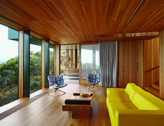 A coastal home designed by Australian architect John Wardle sets Patricia Urquiola's Husk chairs for B&B Italia against lush eucalyptus wood paneling. Photo by Sean Fennessy.  Photo by: Sean Fennessy