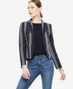 "In rich cotton twill, this structured jacket lines up your look with statement-making style. Notched lapel. Long button-open sleeves allow for versatility in styling. One-button front. Front besom pockets. Back vent. Lined. 22"" long."