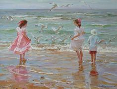 "*Seagulls"" from Children in Art History, Alexander Averin Russian) Realistic Paintings, Am Meer, Fine Art, Beach Scenes, Beautiful Paintings, Art History, Painting & Drawing, Art Gallery, My Arts"