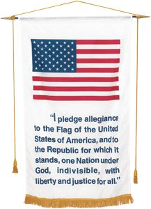 CLEARANCE 2 x 3' Banner to hang in your Ladies Auxiliary, Post, home, or as a gift to school rooms to encourage patriotism. Nylon with gold fringe, gold bar, cord and tassels.  While Quantities Last    WAS $45.00  NOW $28.50