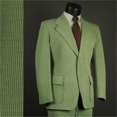 Vintage Mens Suit 1970s MINT GREEN Soft Ribbed Knit 2 Two Piece HIPSTER Mens Vintage Suit