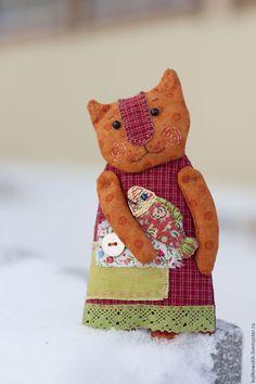Купить Кукла текстильная Котейка кармашковая - разноцветный, кошка, кошечка, коты и кошки, рыба