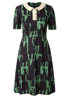 Orla Kiely Textured Silk Collar Dress in Emerald $495